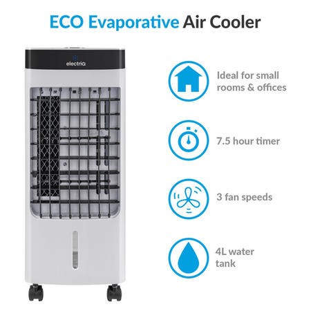 electriQ Slimline ECO Evaporative Air Cooler with built-in Air Purifier and Humidifier - AC100R