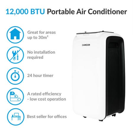 GRADE A1 - Amcor 12000 BTU Portable Air Conditioner for rooms up to 30 sqm