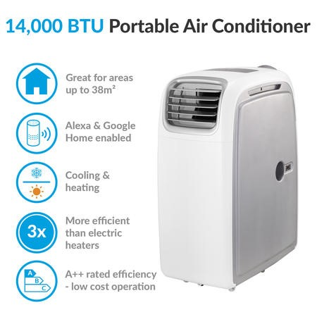 GRADE A1 - AirFlex 14000 BTU 4kW Portable Air Conditioner with Heat Pump for Rooms up to 38 sq mtrs