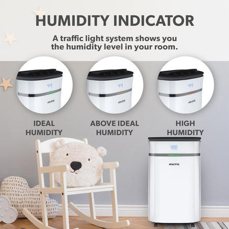 GRADE A1 - electriQ 12 litre Low Energy Premium Dehumidifier for up to 3 bed house with Digital Humidistat and UV Plasma Air Purifier