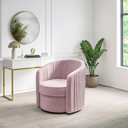Cheska Swivel Armchair in Baby Pink Pleated Velvet