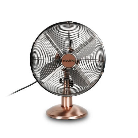 electriQ 12 Inch  Copper Desk Fan with Oscillating Function and Steady Base