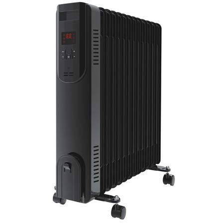 electriQ 2.5kw Black Smart App WiFi Oil Filled Radiator 11 Fin  24 hour and Weekly Timer with Thermostat and Remote - Black