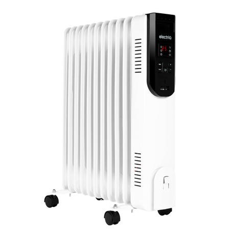 electriQ 2.5kw Smart WiFi Alexa Oil Filled Radiator 11 Fin  24 hour and Weekly Timer with Thermostat and Remote - White