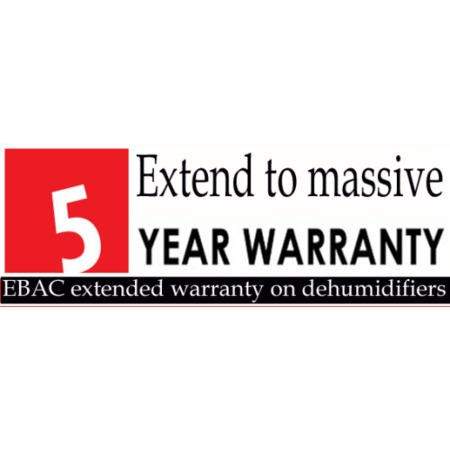 Domestic Dehumidifers 5 years UK Warranty upgrade from standard 2 year Ebac warranty  to a total of 5 years