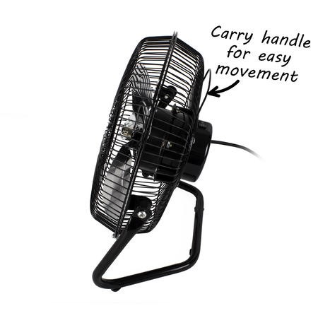 "GRADE A1 - 9"" High Velocity 2 Speed Adjustable Desk Fan - Black"