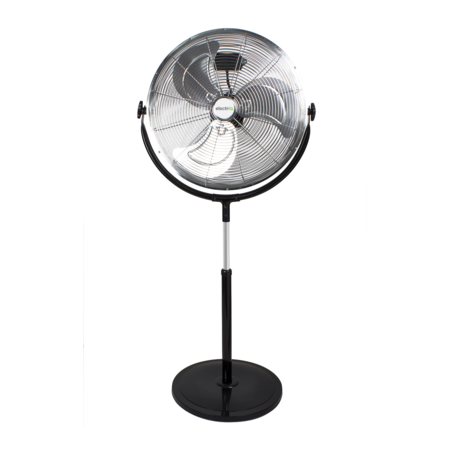 "electriQ 16"" High velocity Pedestal Fan with adjustable Stand - Chrome"