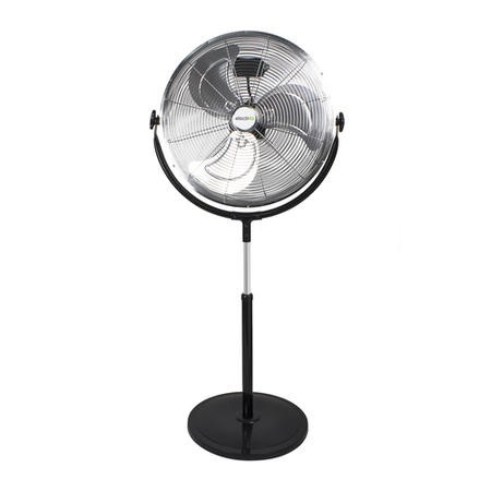 GRADE A2 - electriQ 20 Inch High velocity Pedestal Fan with adjustable Stand - Chrome