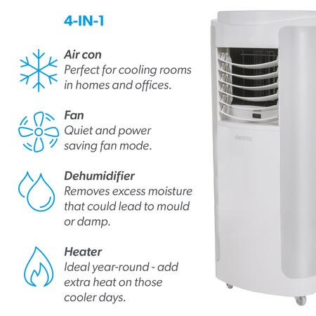GRADE A1 - electriQ 12000 BTU SMART WIFI App Portable Air Conditioner with heatpump for rooms up to 30 sqm - Alexa Enabled