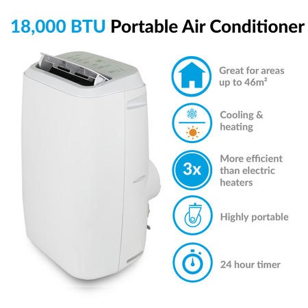 electriQ 18000 BTU 5.2kW Portable Air Conditioner with Heat Pump for Rooms up to 46 sqmt