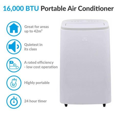 GRADE A2 - electriQ 16000 BTU Quiet Portable Air Conditioner - for large rooms up to 42 sqm
