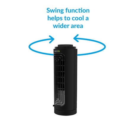 electriQ Slim Tower Fan with Oscillation and 3 speed settings - Black