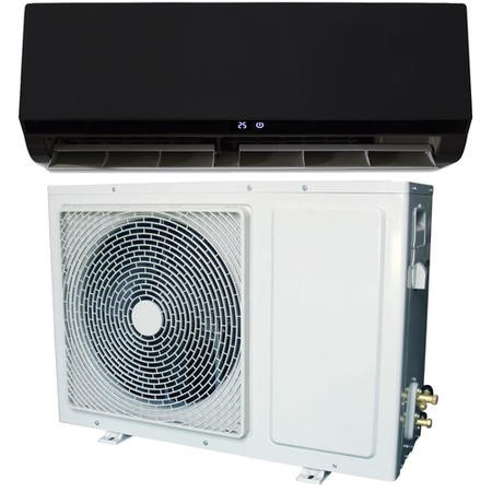 GRADE A1 - 9000 BTU Black Smart Wall Mounted Split Air Conditioner with Heat Pump 5 meters pipe kit and 5 years