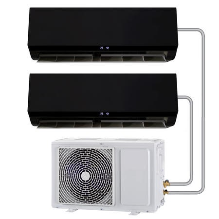 Multi-split 24000 BTU Black Inverter Air Conditioner system with single outdoor unit and two 12000 BTU outdoor units