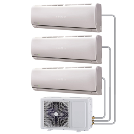 Multi-split 27000 BTU Smart Inverter Air Conditioner system with three 9000 BTU indoor units to a single outdoor unit