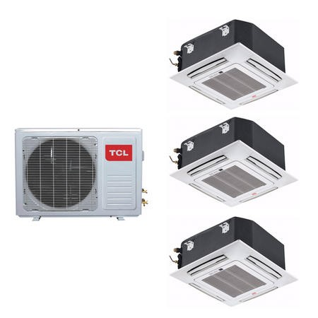 3 Way Ceiling Cassette system 27000 BTU 8kW A++/A+ SmartApp Wifi with three 9000 BTU indoor units to a single outdoor unit - 5 years warranty