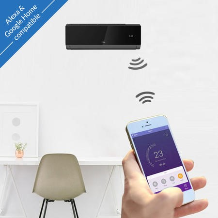 TCL 12000 BTU Black WIFI Smart A++ easy-fit DC Inverter Wall Split Air  Conditioner with 5 meters pipe kit